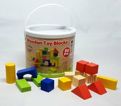 2-Play Houten stapel blokken 50 stuks 19,2x19,2x17 cm