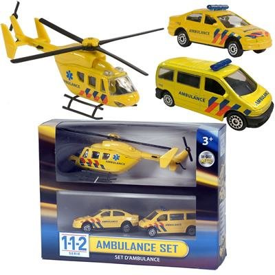 Die-cast 112 Ambulance set 3 delig