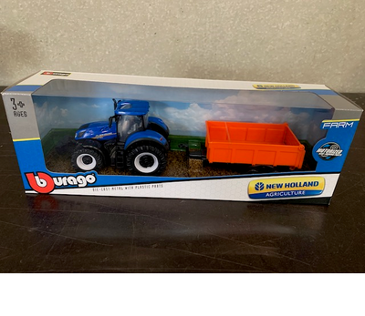 Bburago tractor new Holland met orange aanhanger