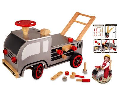 I'm Toy Constructie loop/duwwagen, metallic grijs