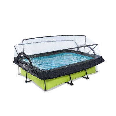 zwembad EXIT Frame Pool 220x150x60cm (12v Cartridge filter) Lime + Overkapping