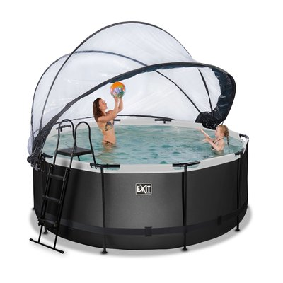 Zwembad Exit Frame Pool Afmeting 360X122Cm (12V Zandfilter) Black Leather Style + Overkapping