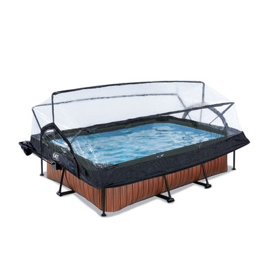 Zwembad Exit Frame Pool 220X150X60Cm (12V Cartridge Filter) Timber Style + Overkapping + Zonnedak