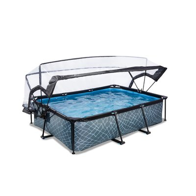 Zwembad Exit Frame Pool 220X150X60Cm (12V Cartridge Filter) Stone Grey + Overkapping