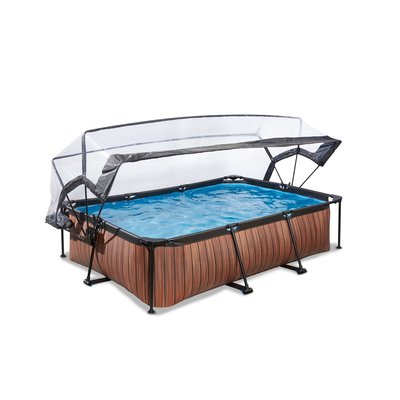 Zwembad Exit Frame Pool 220X150X60Cm (12V Cartridge Filter) Timber Style + Overkapping