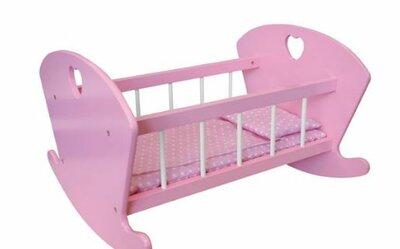 Poppen Schommelbedje Hout Spijlen Roze met hartje afm. 44 x 29 x 40cm