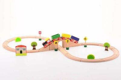Jouéco Houten speelgoed Treinset (30-delig)