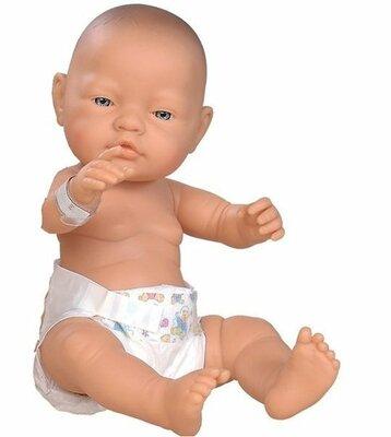 Paola Reina Bebitos babypop blank meisje met bruine ogen met luier 45cm in zak