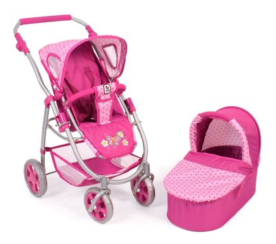 Bayer Chic Poppenwagen 2-in-1 (stippen roze)