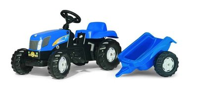 Rolly Toys Kid New Holland traptrekker met aanhanger