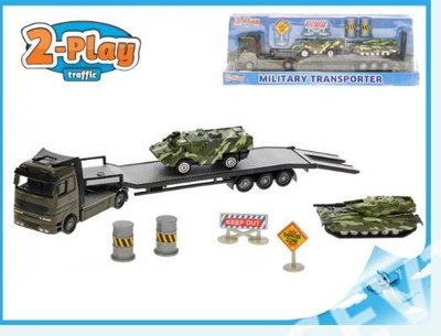 2-Play Die Cast/Plastic Militaire transporter incl tanks