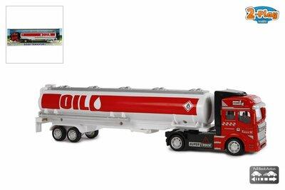 2-Play vrachtwagen met oplegger tankauto pull back 32 cm