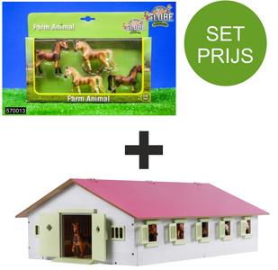 Wonderlijk SET: Kids Globe Paardenstal schaal 1:32 + Kids globe Paarden (4 VG-48